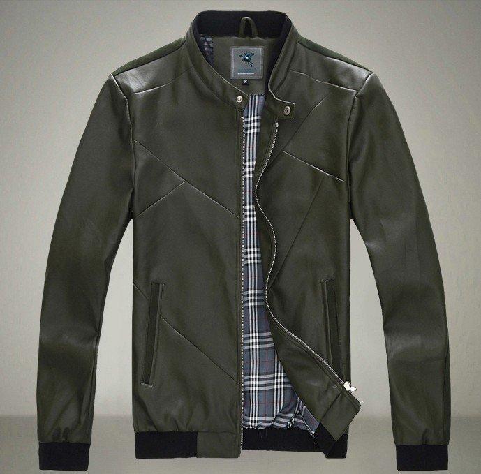 Hot sale Men's 2015 Original autumn new Korean Slim the rhombus pressure line washed design leather coat Free shipping M-3XL(China (Mainland))