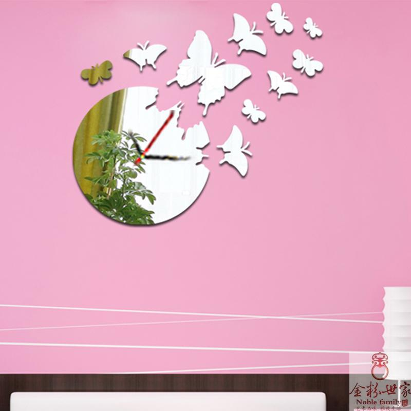 acrylic butterfly cozy home decor living room sofa background set present gift creative mirror sticker wall clock(China (Mainland))