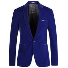 Men Blazer pleuche Casul Suit Spring male casual Slim Fit Jacket New Fashion Party Suit Coat Blue Black XS S M L XL XXL A0048