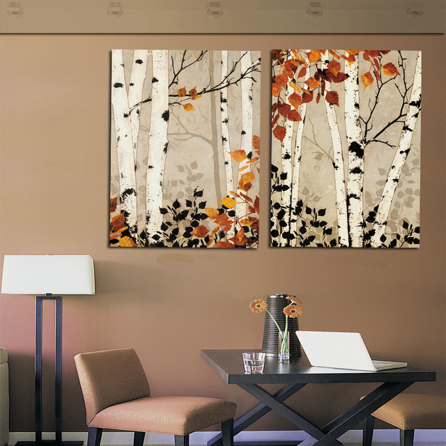 Modern home decor abstract tree painting birch trees for Art painting for home decoration