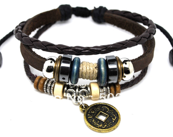 Promotion&free P&P~Wholesale 36 Mix Lots Coin surfer Hemp BROWN Leather Bracelet Jewelry Fashion Present Gift Unisex
