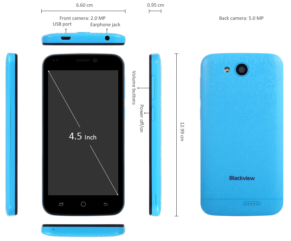 image for Blackview A5 Android 6.0 3G Smartphone 4.5 Inch MTK6580 Quad Core 1.3G