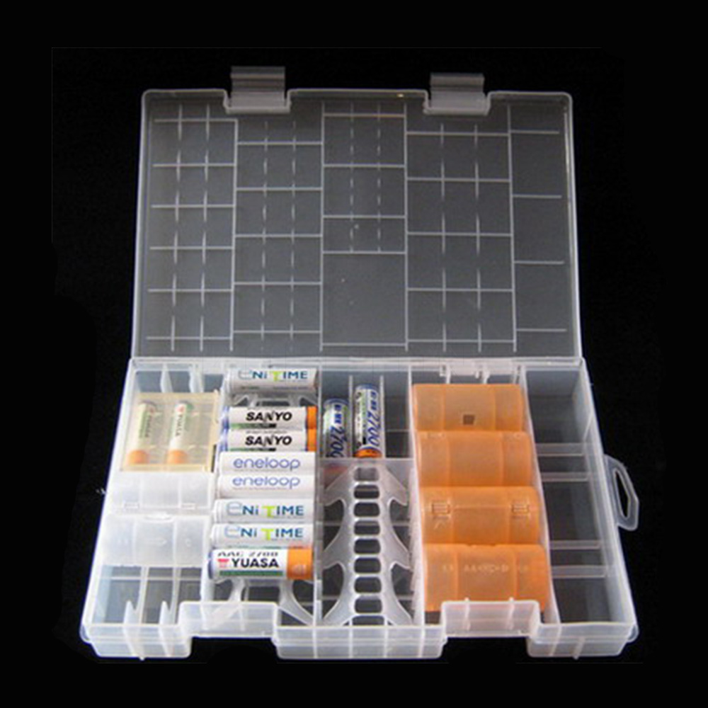 High Quality Rack Transparent AAA/AA/C/D/9V Hard Plastic Battery Case Holder Storage Box Battery Container(China (Mainland))