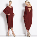 Plus Size Long Dresses Womens Spring Fashion V Neck Backless Batwing Sleeve Loose Dress Women Casual