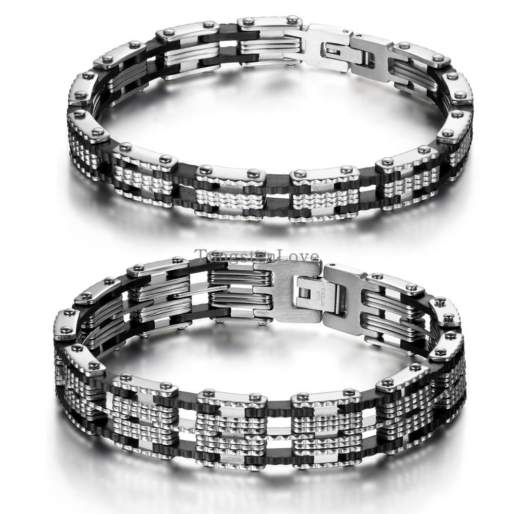Trendy 21cm Inlay Rubber Black stainless steel bracelet mens bangle bike chain italy designer Jewelry 8/13cm width Selection(China (Mainland))