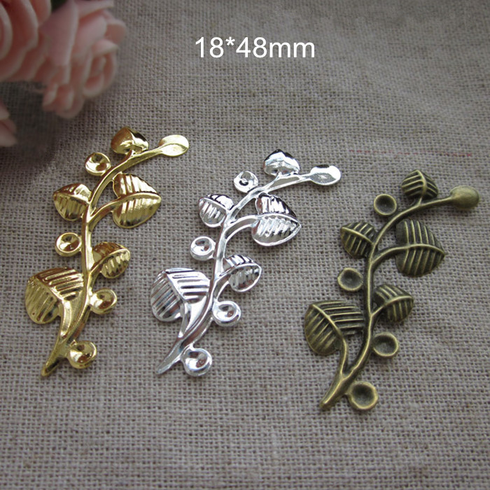 Free Shipping - 45 pcs Decorative Leaf Branches,18*48mm Metal Stamping Crafts,DIY Arts Findings,Gold,Silver,Steel,Bronze(China (Mainland))