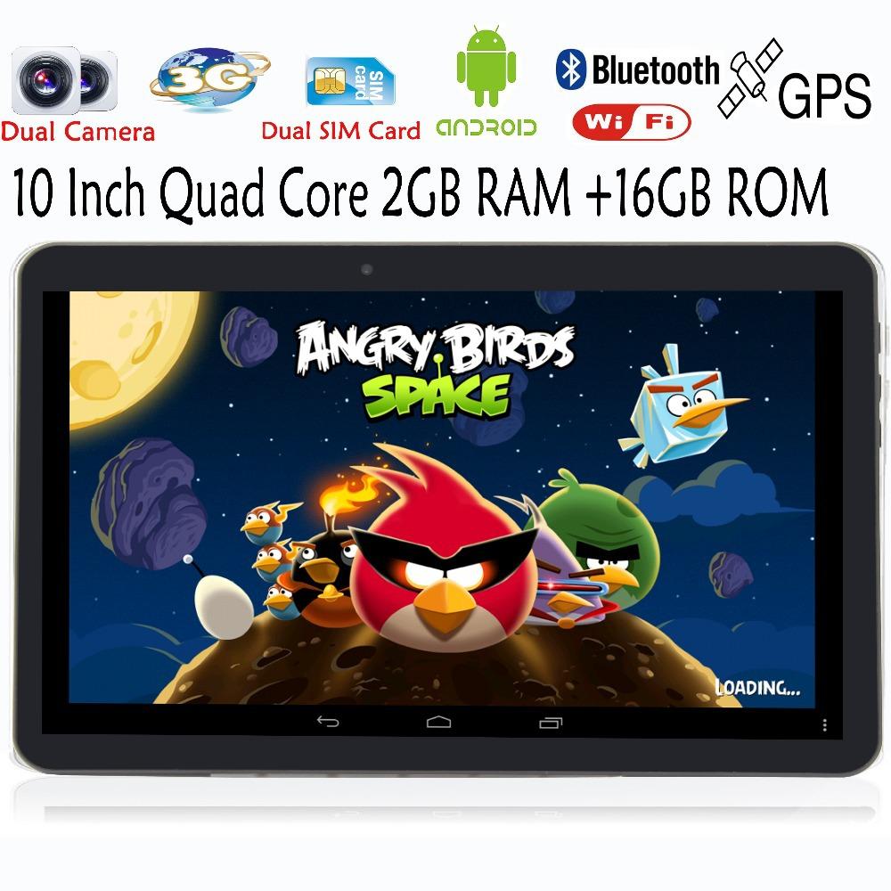 10 Inch Quad core Android4.4 Tablets pc GPS 2GB 16GB 1024*600 LCD   Bluetooth FM 2 SIM Card Phone Call  Smart Tab Pad