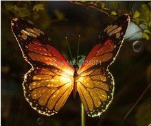 Colorful lights lamp solar led butterfly garden blooms Park Lawn Road outdoor landscape lighting indoor home(China (Mainland))