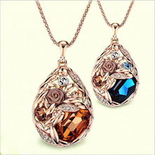 2015 Hottest 18k Gold Teardrop Crystal Necklace Jewelry,Colorful Long Crystal Rhinestone Necklace Cheap Jewelry Wholesale(China (Mainland))
