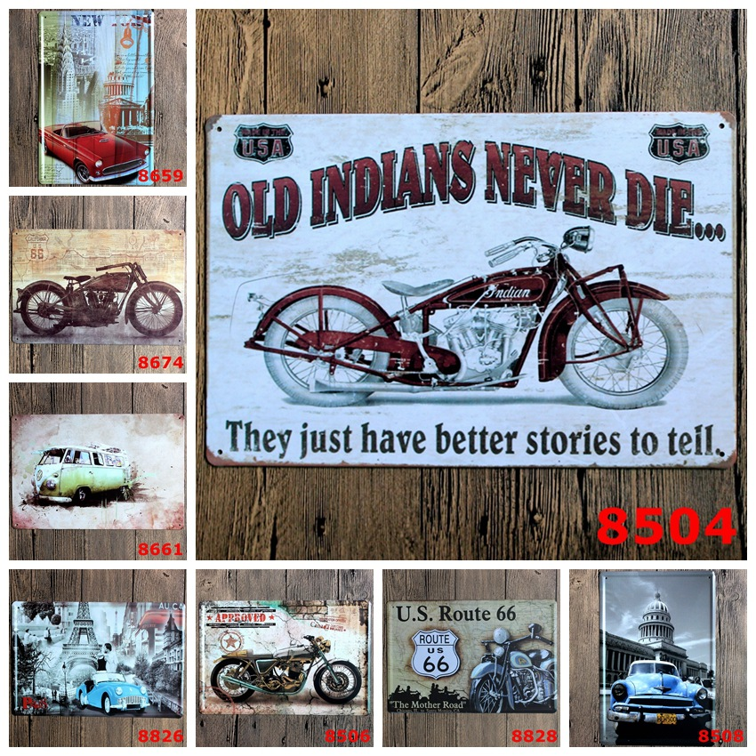 Motorcycle iron painting Metal Tin sign Retro plate Vintage Plaque Wall Art Decor cafe bar home 20*30 CM free shipping(China (Mainland))
