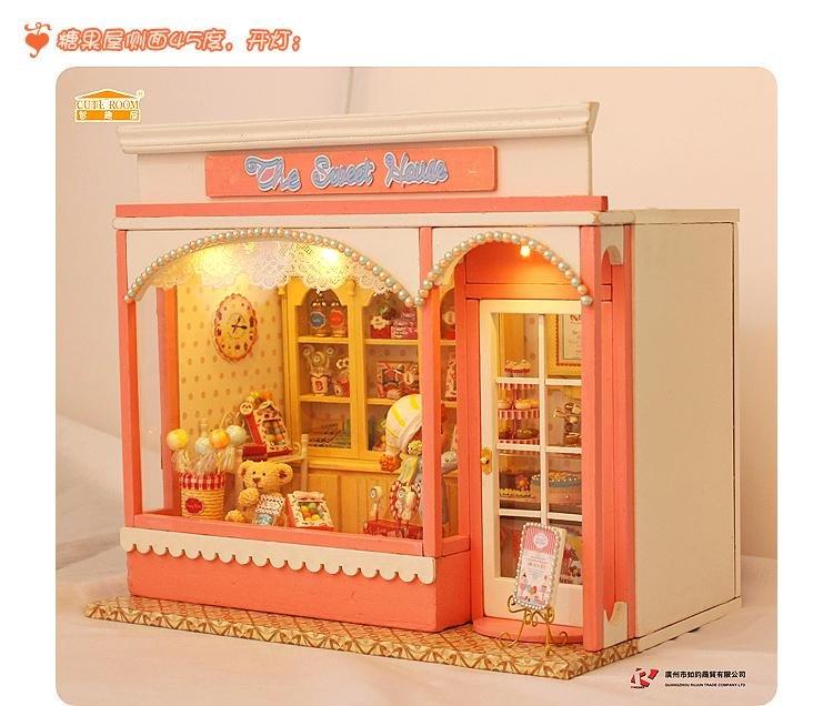 DIY LED LIGH Fairy Tale Light Dollhouse Voice-activated the sweet house shop Kit(China (Mainland))