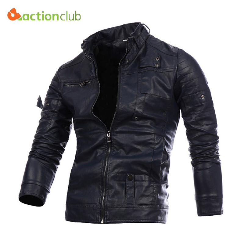 New Fashion Mens Leather Jackets Zip Leather Jackets Jaqueta De Couro Masculina Motorcycle Leather Jackets Casual Overcoat