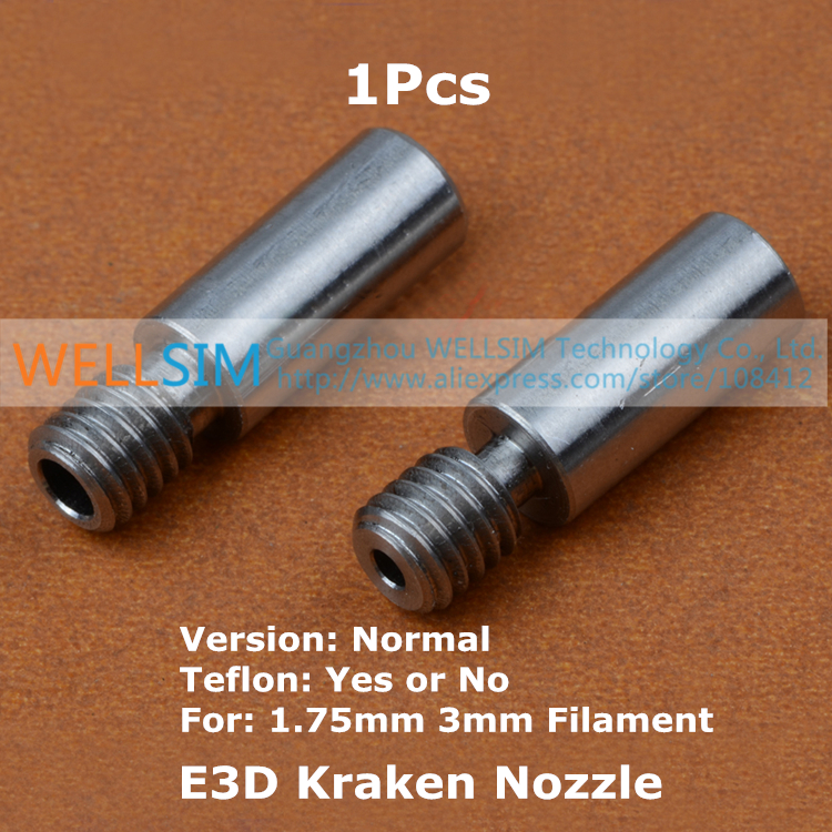 1Pcs E3D Kraken Nozzle Throat 1.75mm 3mm 4.1mm Normal Version Double Nozzle Throat Tube Pipes For 1.75mm 3mm Water-cooled<br><br>Aliexpress
