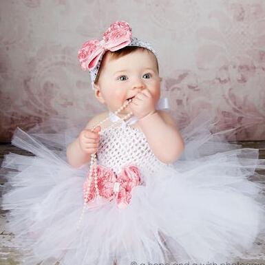 Flower Double Layers Fluffy Purple/White/Pink/Black Tutu Dress With Headband Birthday Sets For Baby Girls(China (Mainland))