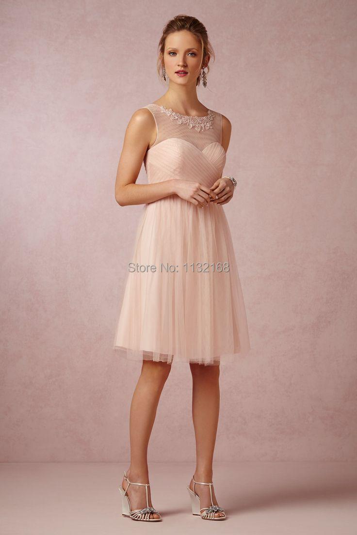 Robe de cocktail mariage rose pale