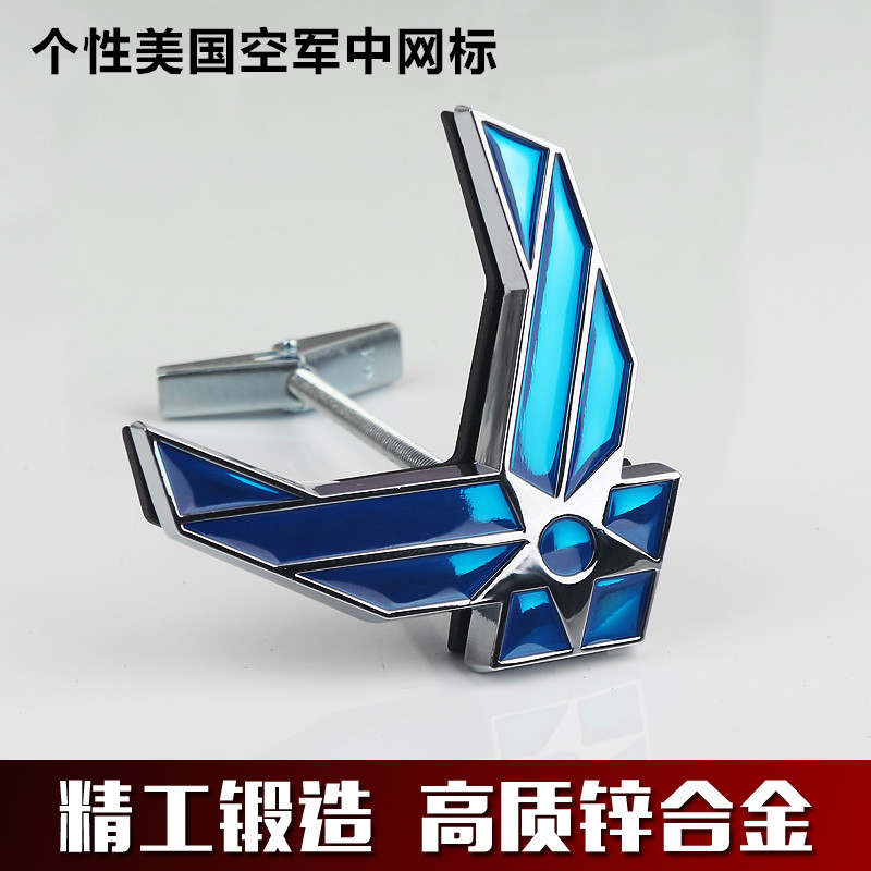USAF US Air Force Chrome Metal Grille Car Fender Styling Emblem Arm Badge 3D Sticker Auto Fashion Decor Logo Refitting Decal(China (Mainland))