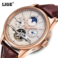 Mens watches Automatic mechanical watch tourbillon clock leather Casual business wristwatch relojes hombre top brand LIGE luxury(China (Mainland))