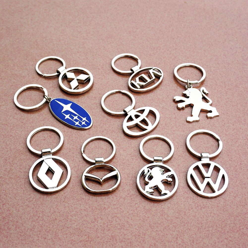 3D metal alloy cutout car logo key chain key ring Hollow creative Keychain free shipping for Volkswagen toyota KIA Peugeot opel(China (Mainland))