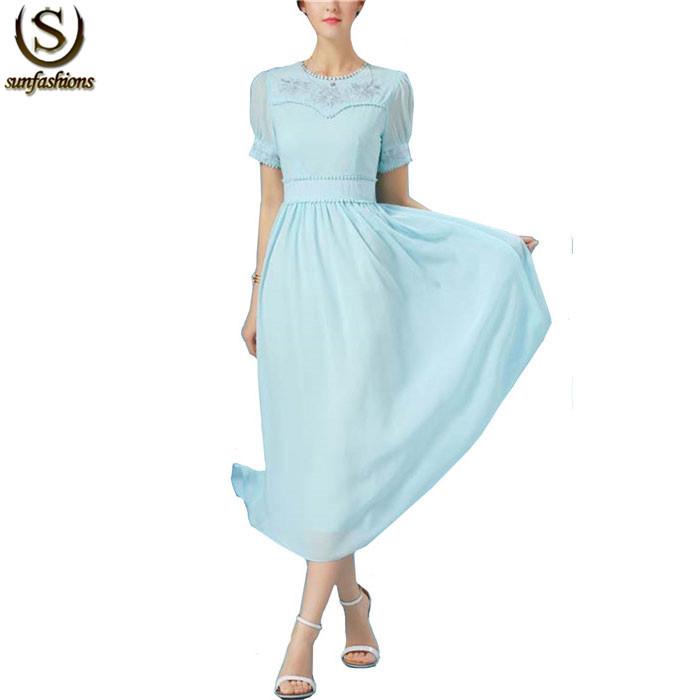 Pale Blue Cap Sleeve Round Neck Embroidered Zipper Vintage Vestidos 2015 Summer Women Chiffon Flare Long Dress(China (Mainland))