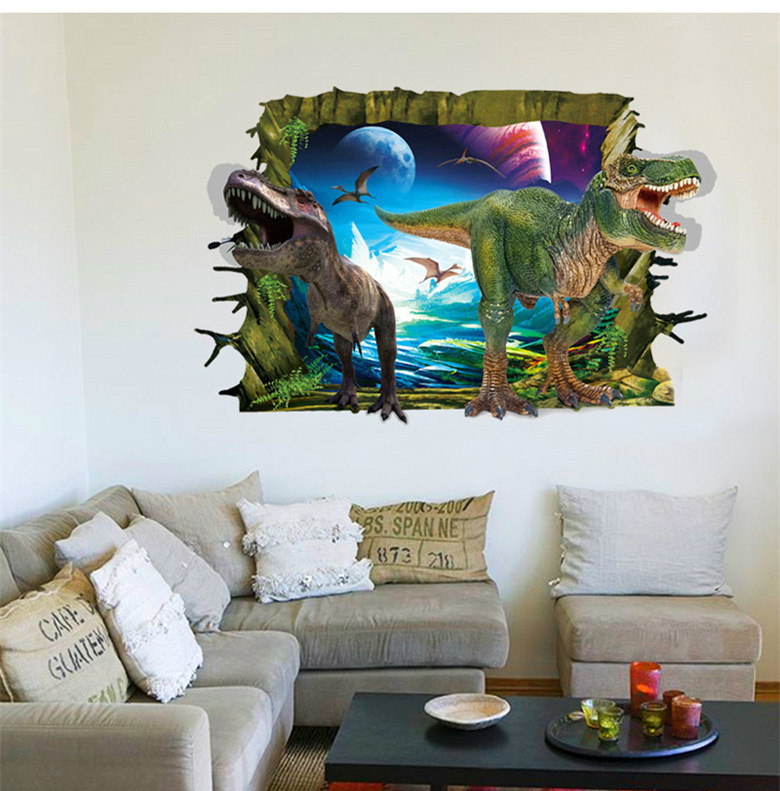 3D Poqiang cartoon dinosaur wall stickers for kids room living room bedroom TV background sticker home decor free shipping &(China (Mainland))