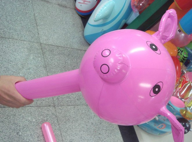 free shipping (20pieces/lot) childrens toys online inflatable toys cartoon pig pattern inflatable hammer(China (Mainland))