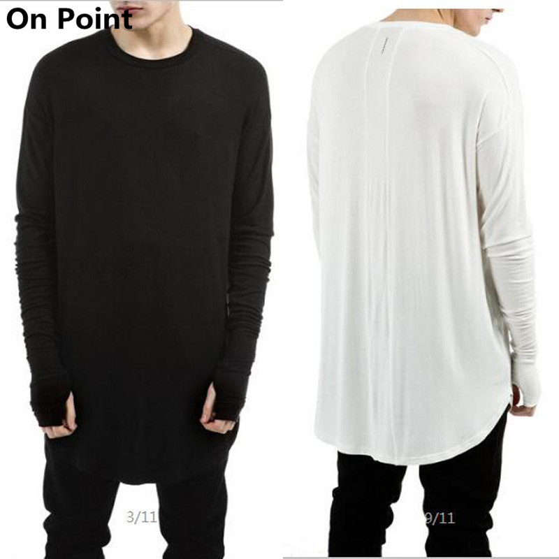 High fashion mens long sleeve curve bottom extended t Mens long sleeve white t shirt