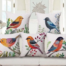 Buy Bird Lover Cotton Linen Waist Pillow Sofa Car Bay Window Decorative Pillows Simple Style Cushion for $5.09 in AliExpress store