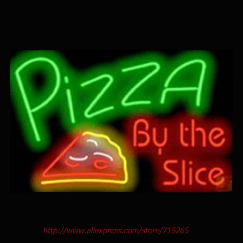 Pizza By The Slice Neon Sign Neon Bulbs Real Glass Tube Handcrafted Light Signs Store Decorative Personalized Light 30x20(China (Mainland))