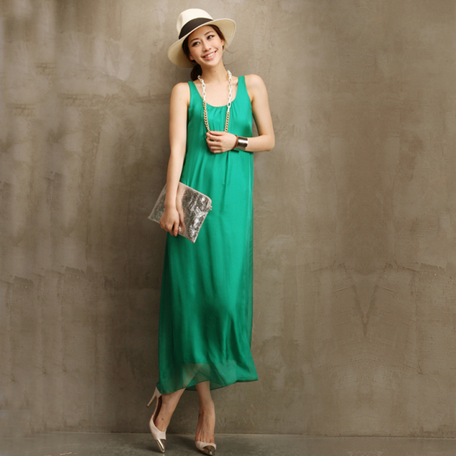 Fashion one-piece dress mulberry silk sleeveless plus size a expansion bottom long design 4 one-piece dress