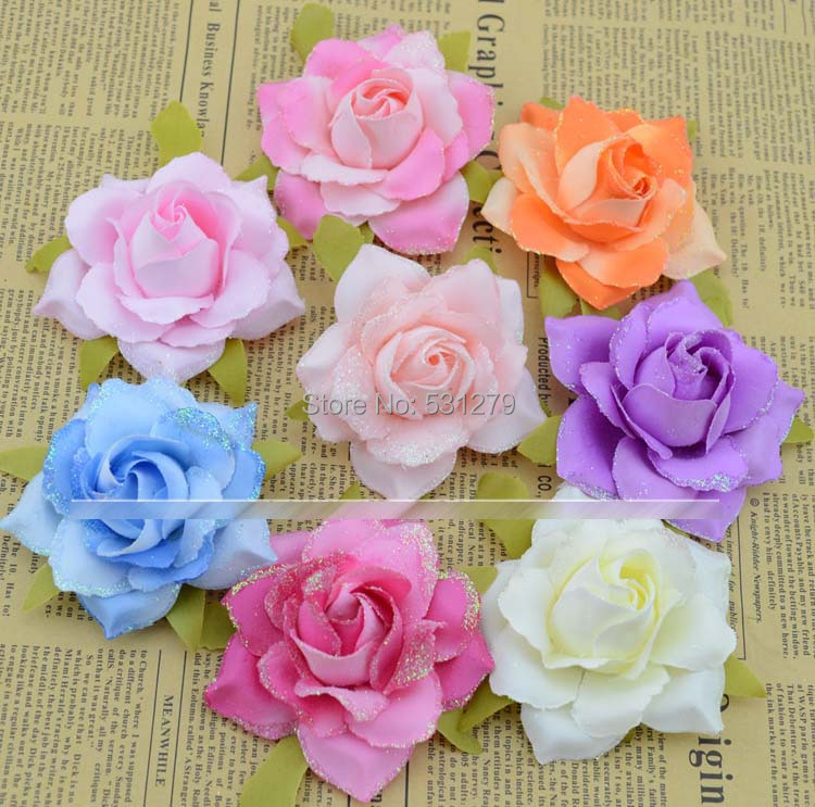New handcrafted roses flower head 6cm 8 colors leis double color with dust millinery for brooch shoes DIY decoration 100pcs/lot(China (Mainland))