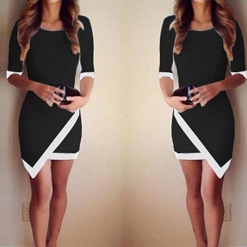 2015 новый женский летнее платье сексуальная ну вечеринку платья мода бинты Bodycon половина рукава дамы асимметричная лоскутная Vestidos Y9617