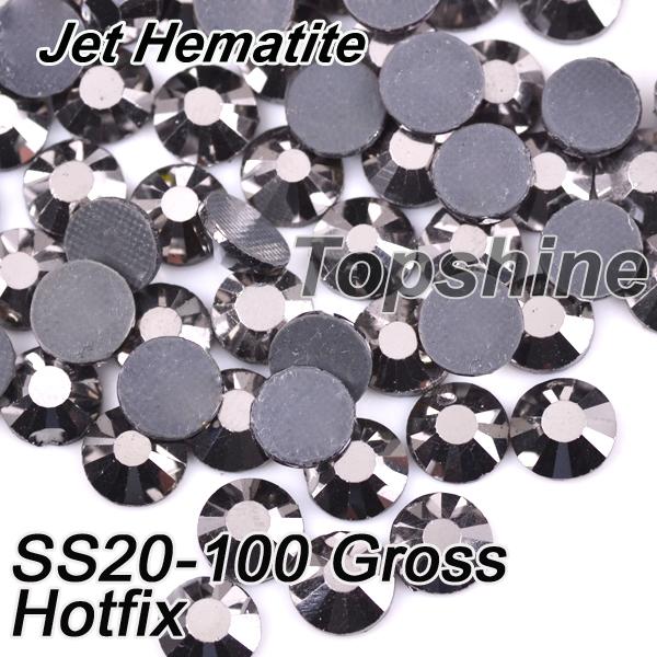 Machine Cut 100 Gross SS20 Glass Material Jet Hematite DMC Hotfix Rhinestones(China (Mainland))