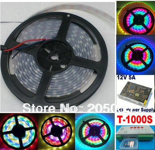 5M 16FT WS2811 IC 30Led/M Dream Color SMD 5050 RGB LED Strip Waterproof IP67 12V DC+SD Card Programmable Controller+12v 5A power(China (Mainland))