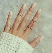 2015 new fashion 6pcs /lot Shiny Punk style Gold plated midi Finger Knuckle Ring Set for women Jewelry R81