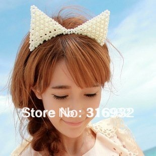 M7 Free shipping 2012 new design Sweet pearl cat ears shaped party Hair hoop, Hair Accessories