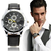 1PC Brand Luxury Men Boy Dress Casual Motion Sports Watch Leather Quartz Male Clock Wristwatch Quality