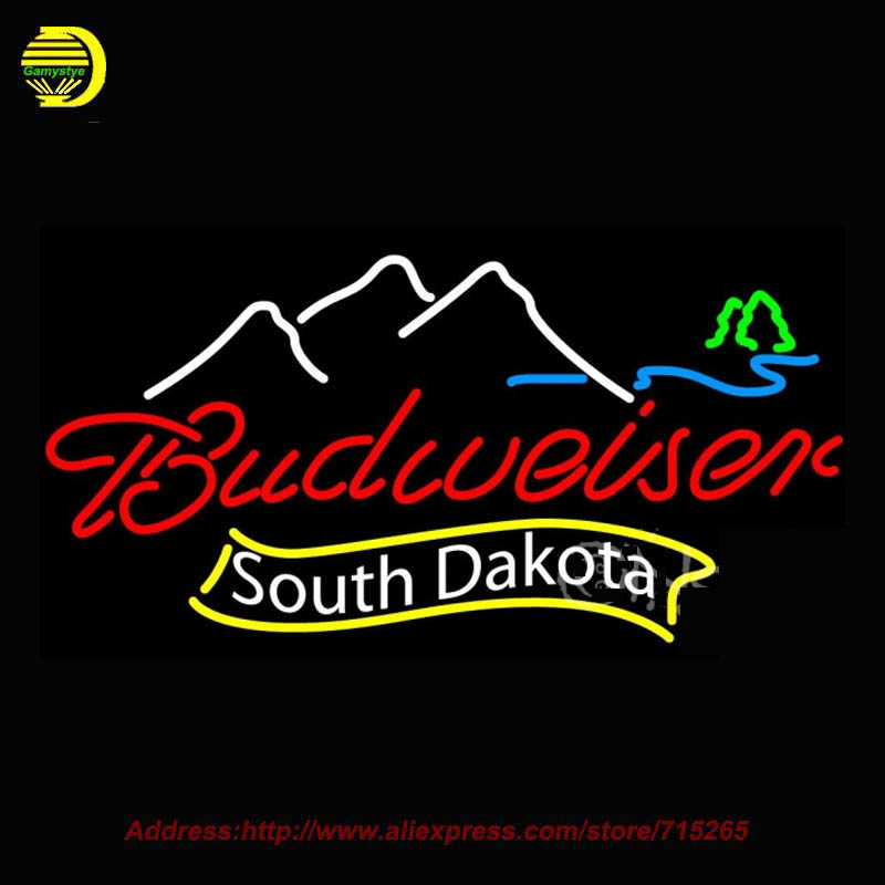 Neon Sign Budweiser South Dakota Glass Tube One Neon Signs Handcrafted Free Design Recreation Room Iconic Sign 37x20(China (Mainland))