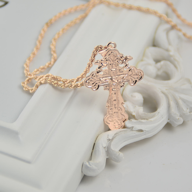 Top quality Rose gold cross pendant necklace Jesus Christian Jewelry Free Shipping(China (Mainland))