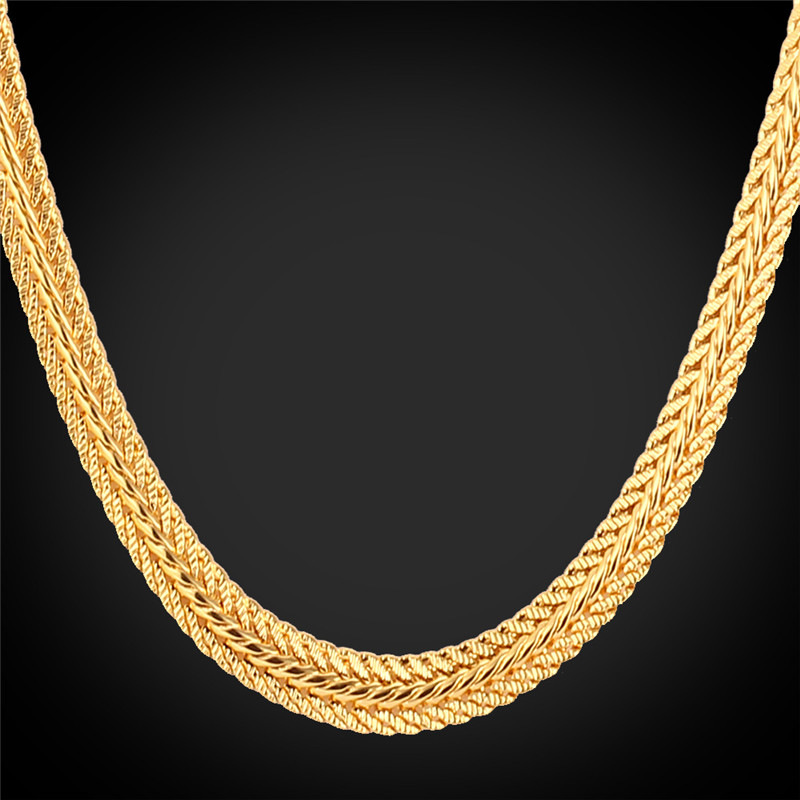 Men Long Foxtail Chain Necklace 6mm Width 32'' Length Rose Gold/Yellow Gold Plated Mens Chains Jewelry Collier Wholesale N435(China (Mainland))
