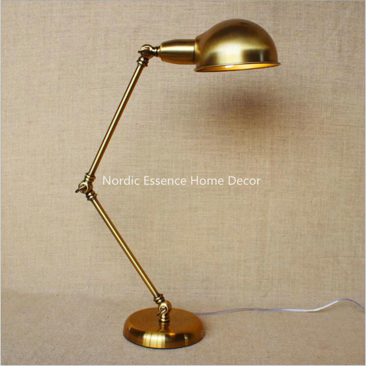 Nordic American country style retro nostalgia vintage bronze creative personality study desk table reading lamp free shipping(China (Mainland))