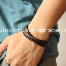 50 PCS Mixed Fashion vintage british style multi-layer hand-rope strap casual leather bracelet