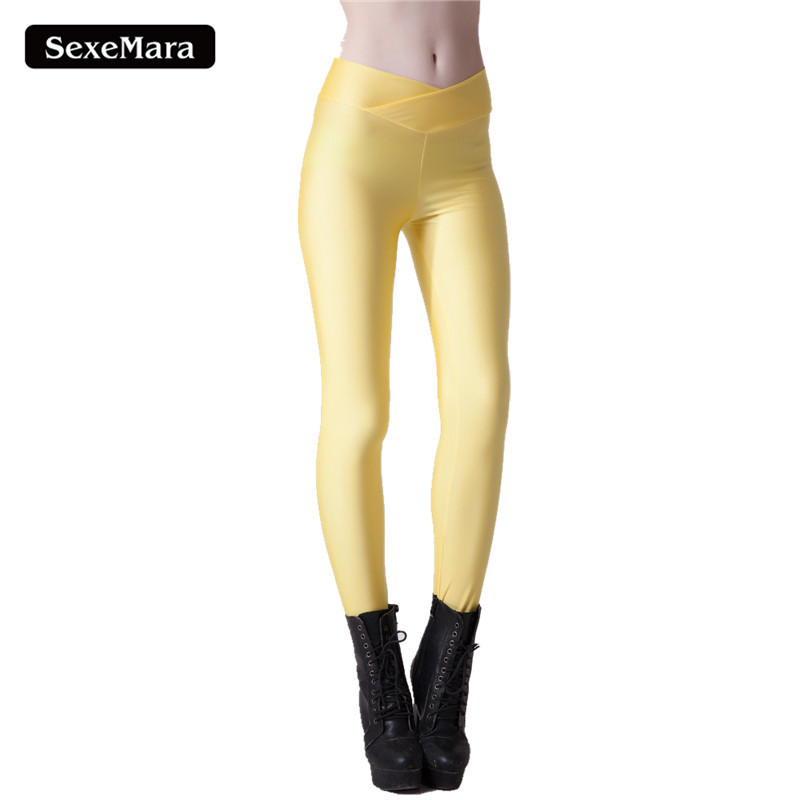New 2017 Spring Fashion Women Candy Leggings Fitness High Waist Elastic Yellow Leggins Pants Workout Capris Trousers SLgs9035
