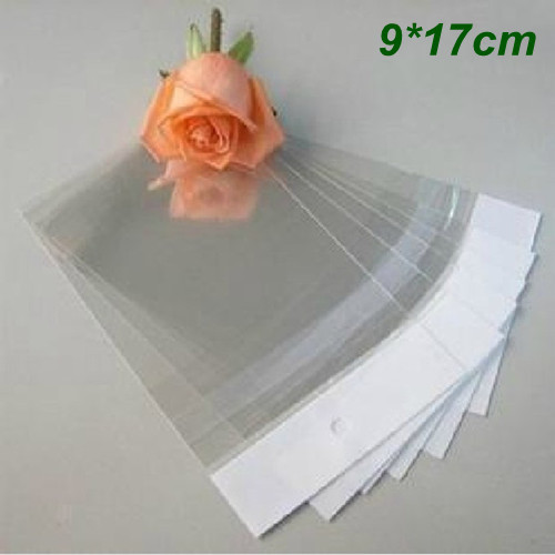 9cm*17cm Clear Self-Adhesive Seal Plastic Bags OPP Poly Bags Retail Packing Bag W/ Hanging Hole Wholesale 1000Pcs/Lot(China (Mainland))