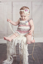 Ivory grey Dusty Mauve 3 Toned Petti Lace Rompers Infant Toddlers Girls Beautiful Outfit Photo Prop dusty pink dusty rose romper(China (Mainland))