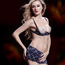 Высокое качество открытое множество бюстгальтер дамы белье бюстгальтер юбка комплект синий плед открыть Bra Top и микро юбка белье установить