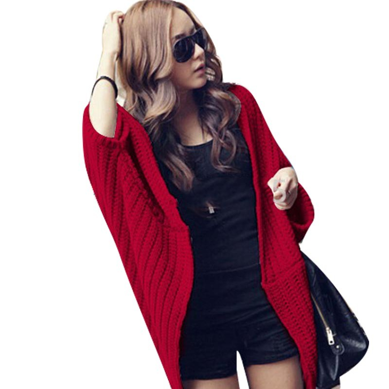 Fashion women cashmere blends Poncho knitted cardigan Bating Sleeve sweater shawl cape winter outerwear clothes 2 colors(China (Mainland))