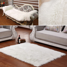 Long Faux Fur Artificial Skin Rectangle Fluffy Chair Seat Sofa Cover Carpet Mat Area Rug Living Bedroom Home Decoration White(China (Mainland))