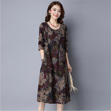 Buy New Arrival 2017 Autumn Dresses Vintage Casual Robe Long Sleeve O-Neck Printed Dress Loose Cotton Linen Women Long Dress Vestido for $10.21 in AliExpress store