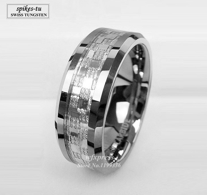 8mm Wedding Band ring Mens 925 sliver Center Tungsten Carbide Promise Ring Free Shipping(China (Mainland))