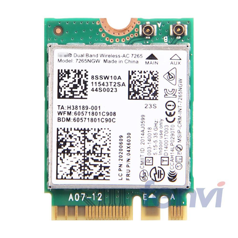 New Dual band Wireless-AC For Intel 7265NGW WIFI BlueTooth Card 802.11ac 2x2 NGFF Wireless Wifi BT 4.0 Network Card FRU:04X6030(China (Mainland))